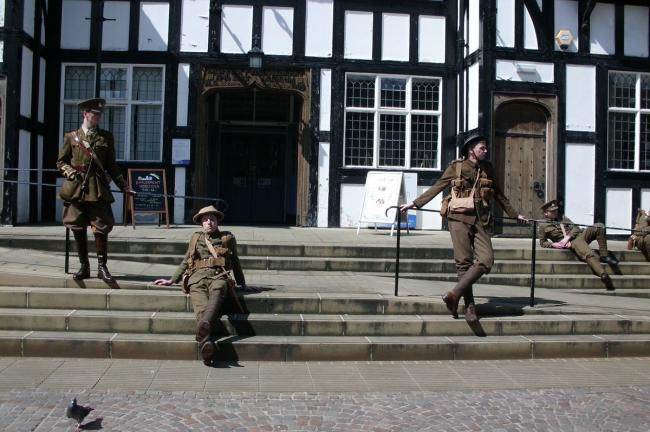 We Are Here - Soldiers outside Northwich Library